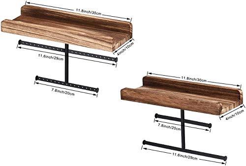 Bekith 2 estantes de madera para joyas, organizador para pendientes, collares, pulseras, anillos, 30 x 10 cm