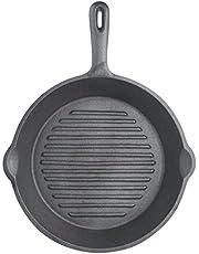 KitchenCraft Gjutjärn grillpanna för induktionshäll, rund, 24 cm