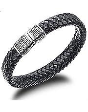 2105 Fashion Tatainum Steel Leather Specical Men Bracelet as Gift for Male b47 PH938[Length 18.5cm]