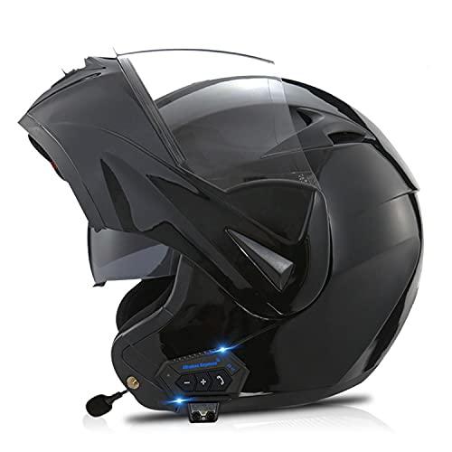 Bluetooth Integrado Casco de Moto Modular con Doble Visera Cascos de Motocicleta ECE Homologado un Micrófono Incorporado para Adultos Hombres Mujeres (Color:E,Size:XS=53-54CM)
