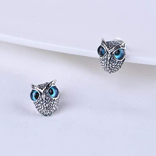 wnhnb Demon Eye Owl Anillo/colgante/pendientes de oreja, juego de plata de ley 925 con diseño de búho de ojo de demonio, colgante y pendientes de oreja, plata de ley