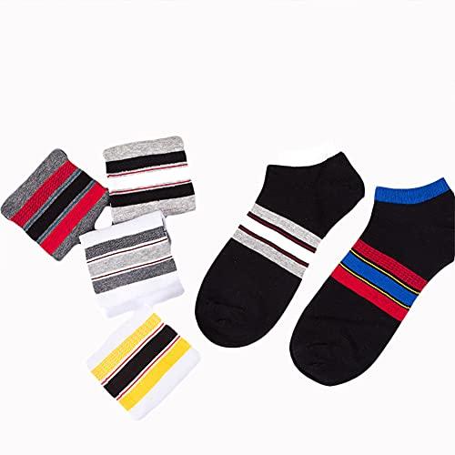 GCHBST 12 Pares de Calcetines Finos de algodón Peinado para Hombre de Primavera y Verano a Rayas,Mixed,One Size