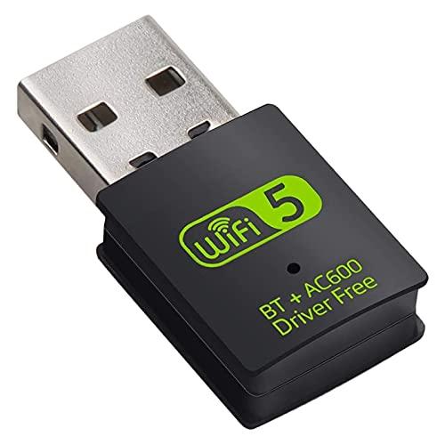 Runtodo Adaptador WiFi USB 2.4G / 5GHz Frecuencia Dual 600Mbps WiFi Combo Tarjeta de Red InaláMbrica USB para PC/Laptop