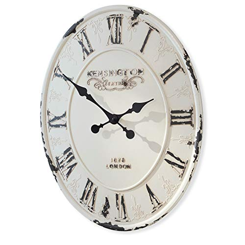 Loberon Uhr Soulières, MDF, H/B/T ca. 59/44 / 3 cm, weiß