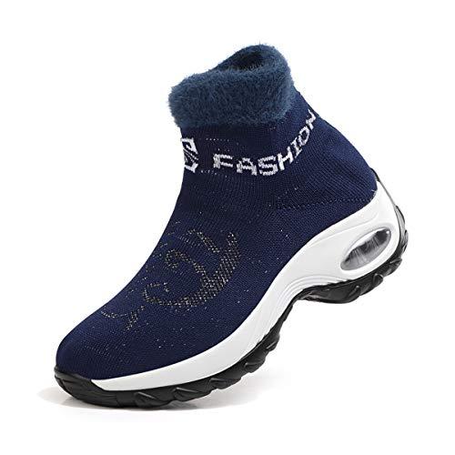 DEBAIJIA Chaussures Femme Hiver Chaude Suède Doublure Baskets Sneakers Outdoor Décontracté Randonnée 40 EU Bleu (Taille Tag-40)