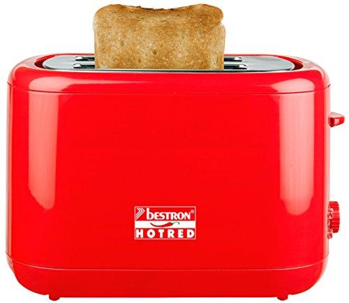 Bestron ATS300HR toster seria Hot-Red, czerwony z nasadką do bułek, 930 W maks.