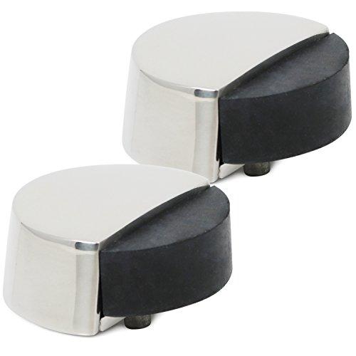 com-four® 2X Türstopper aus poliertem Edelstahl, Bodentürstopper mit Gummipuffer und Befestigungsmaterial, Ø 5,2 x 3 cm (Edelstahl poliert Ø 5.2 cm - 02 Stück)