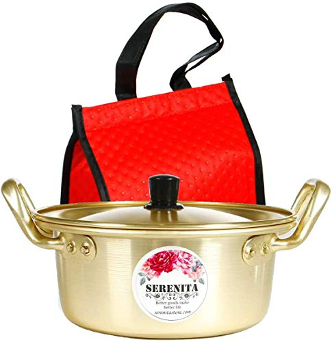 Ramen pot, fast Korean noodle cooker, 3 minute boiler for soup pasta egg, easy light cookware with lid