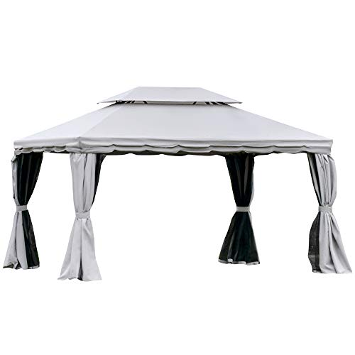 Outsunny 13' x 10' Outdoor Patio Gazebo Canopy with 2-Tier Polyester Roof, Vented Mesh Sidewall, & Aluminum Frame, Grey