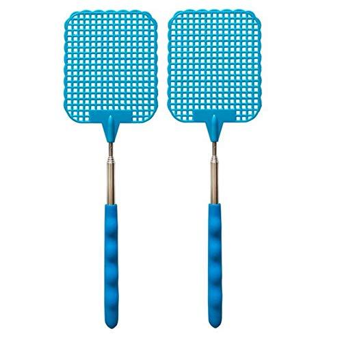 Veroline 2 x Fliegenklatsche/Insekten/Mückenklatsche - Teleskop ausziehbar - Edelstahl - einzeln oder als Paar - Bei Fliegen, Mücken, Stechmücken, Moskitos und Insekten (2, Blau)