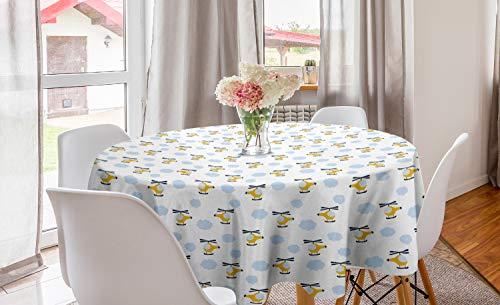 ABAKUHAUS Kinderkamer Rond Tafelkleed, Vliegtuigen in Wolken, Decoratie voor Eetkamer Keuken, 150 cm, Yellow and Blue