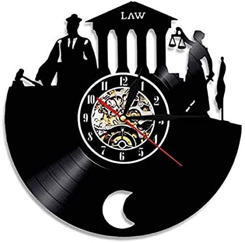 Reloj Retro Abogado Verdad Arte de la Pared bufete de Abogados Juez decoración de la Corte Reloj de Pared Ley Mujer balanzas Justicia Disco de Vinilo Reloj de Pared