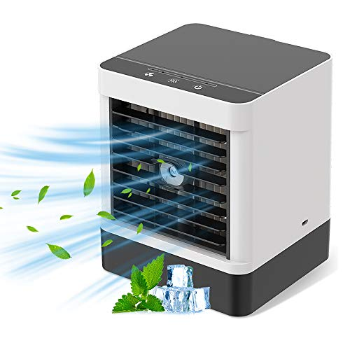 Bcamelys Mini climatizzatore portatile 3 in 1 climatizzatore, umidificatore per evaporazione, ventilatore da tavolo a 3 velocità, umidificatore da scrivania per ufficio e casa