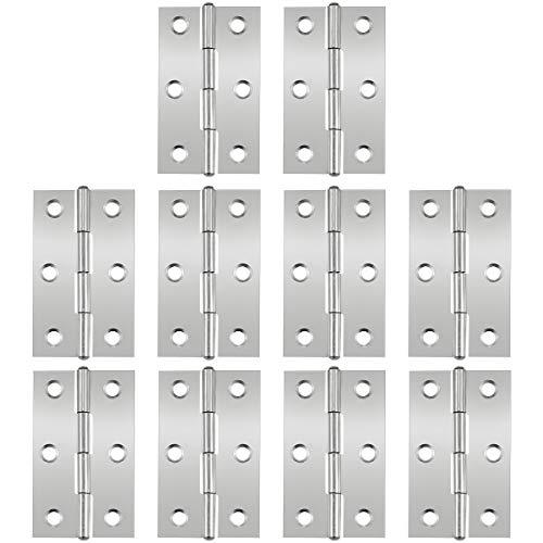 Conectores de bisagras para vitrina, 10 piezas Bisagras de puerta de 2.5 pulgadas bisagra de puerta bisagra de acero inoxidable bisagra de puerta con bisagra con 6 orificios de montaje para muebles
