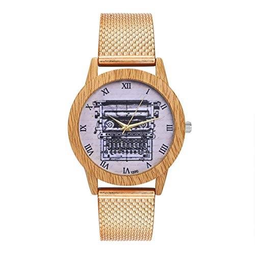 CHOUCHOU Colgante Pendientes Cuarzo con Encanto Moda Casual de Las señoras del Reloj Redondo Grande del Reloj de la joyería Accesorios DecorationT390-F, Color: Rosa de Oro (Color : Rose Gold)
