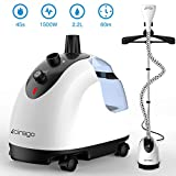 Cirago LS-609C, Professional Heavy Duty Hanging Clothes Steamer,2.2 L(74OZ) 80min of Continuous, 2 Level Steam Adjustment, with Fabric Brush/Garment Hanger/Anti-scalding, 2.2L, White/Black