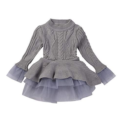 Merqwadd Infant Toddler Baby Girl Pleated Dress Solid Longsleeve Knit Sweater Winter Dress (Knitted Tutu Dress-Light Grey, 3-4T)