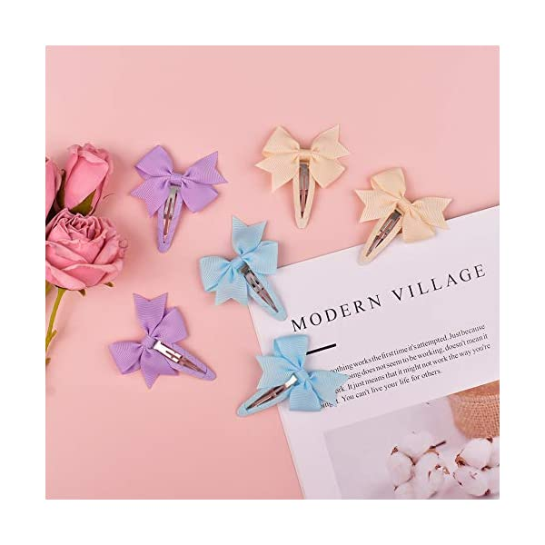 Ruyaa 40pcs Small Pinwheel Hair Bow Snap Clip Fully Wapped for Baby Girl Toddler Hair Accessories Barrettes Pigtail Pairs Assorted Solid Color little girls