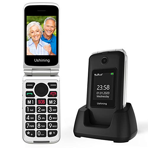 Telefono Movil para Mayores Teclas Grandes con Tapa Pantalla de 2,8 + 1,8 Pulgadas Tecla de Emergencia Botón SOS Cámara Fácil de Usar para Ancianos, Ukuu gsm Telefono Movil Negro