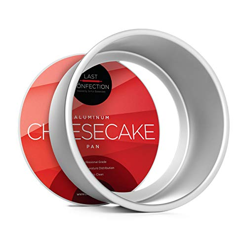 Last Confection 7' x 3' Deep Round Aluminum Cheesecake Pan with Removable Bottom - Professional Bakeware