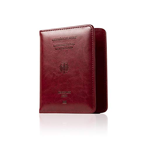 CALIPSO Reisepasshülle - Reisepass RFID Designer Travel Wallet - Praktischer Passport Cover mit Fächern für Impfpässe & Co - Reiseorganizer Etui