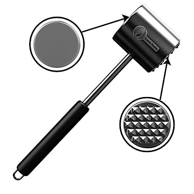 Meat Tenderizer Mallet Tool - DISHWASHER SAFE - Manual Hammer Pounder For Tenderizing Chicken Steak Pork & Veal in Kitchen - Professional Non Slip Silicone Handle for Pounding
