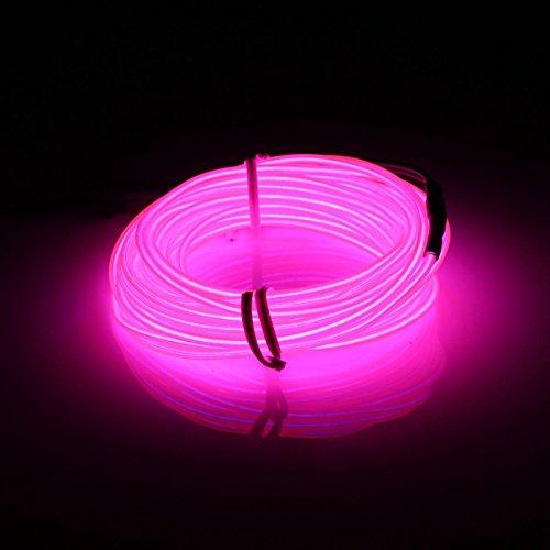 MASUNN 5M El LED Flessibile Morbido Tubo Filo Neon Bagliore Auto Rope Strip Luce Natale Decor DC 12V-Rosa