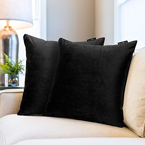 Newdora Cushion Covers, 18'x18', Pack of 2, Soft Decorative Velvet Square Throw Pillow Cases for Sofa Bedroom Livingroom with Invisible Zipper 45 x 45cm, Black