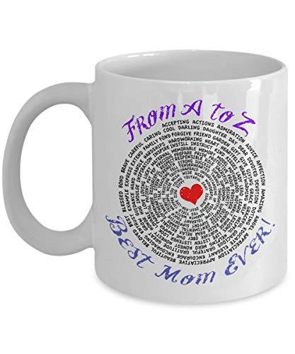 Beste Mutter Tasse - Beste Mutter aller Zeiten von A bis Z - Große Beste Mutter Keramik Kaffeetasse - Geburtstag Jubiläum Weihnachtsgeschenk Strumpf Stuffer - Für Mütter, werdende Mutter, Oma, Tante,