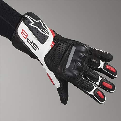 Guantes de cuero para motocicleta Alpinestars SP-8 v2, color negro/blanco/rojo