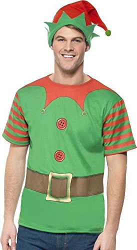 SMIFFYS Mens Elf Instant Kit Christmas Outfit