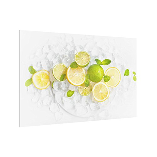 Bilderwelten Panel antisalpicaduras de Cristal - Citrus Fruits On Ice - Horizontal...