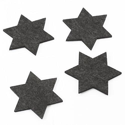 Oblique-Unique® Filzuntersetzer Sterne 4er Pack für Tisch und Deko - Weihnachten (Dunkelgrau)