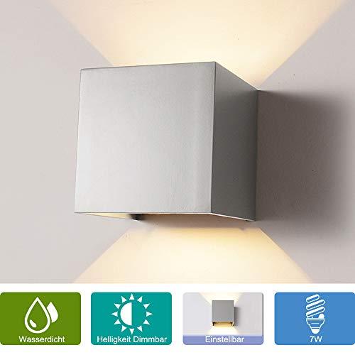Elitlife 7W Dimmbar Aluminium Wandleuchte Außenlicht LED Warmweiß 230V 3200K Einstellbare Beleuchtungswinkel LED für Innen und Außen [Energieklasse A++]