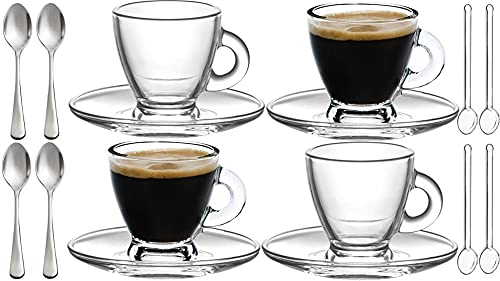 Espresso Cups, 3.2 oz Small Demitasse Clear Glass Espresso Drinkware, Set Of Cups, Saucers and Stainless Steel mini Spoons + Free Glass Spoons (set of 4)