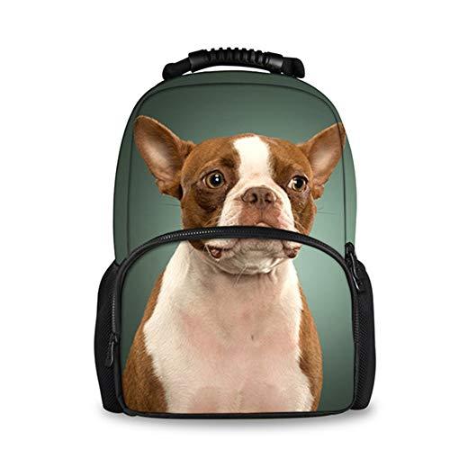 Fhdc Rugzak voor vrouwen, vilt, grappig, 3D, Boston Terrier, hond, bedrukt, rugzak voor jongeren, meisjes, reizen, laptop