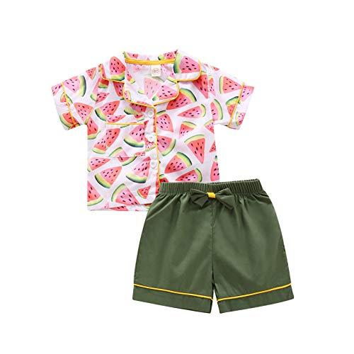 Julhold Conjunto de ropa de dormir para bebés y niñas con flores de sandía tops+pantalones cortos de pijama