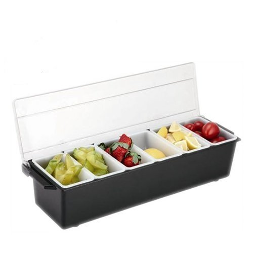 Black Classic 6 Pint Compartment Condiment Tray Holder Caddy with Lid