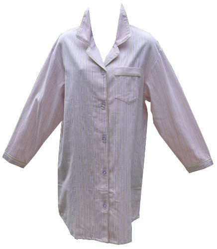 RocketWear Pastel Pink Long Sleeve Cotton Flannel Button Front Night Shirt/Robe