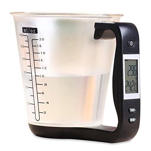 Perfectii Digitaler Messbecher Waage mit eingebauter Küchenwaage Thermometer und LCD-Display. Mit Zuwiegefunktion (Tara), max. 1kg