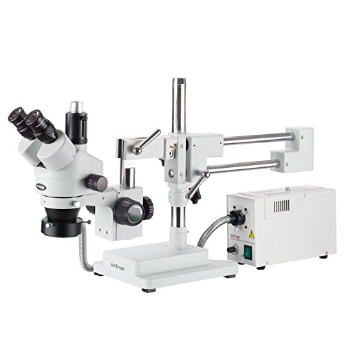 AmScope 3.5X-90X Simul-Focal Stereo Zoom Microscope on Boom Stand with Fiber Optic Ring Light