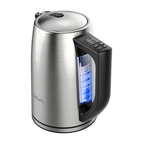Bollitore Elettrico VAVA 1.7L Temperatura Regolabile in Acciaio Inox Controllo Temperatura Strix Spegnimento Auto Maniglia Isolata Termicamente, 2200W