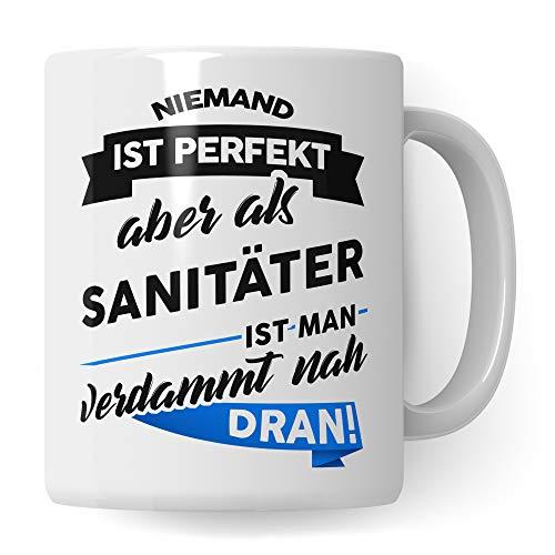 Pagma Druck Tasse Sanitäter Geschenk - Rettungssanitäter Krankenwagen Kaffeetasse - Spruch Rettungshelfer Becher - Geschenkidee Rettungsdienst (Weiß/Weiß)