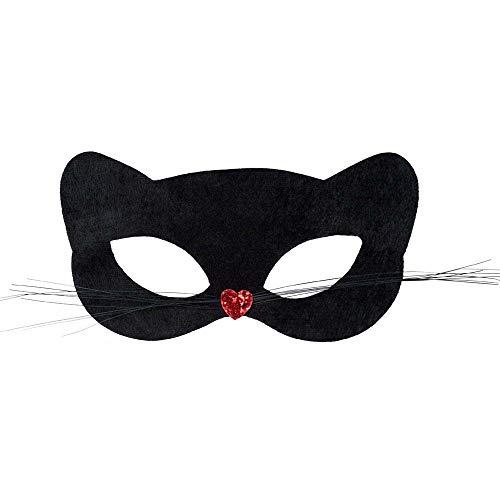 Boland 00297 - Augenmaske Pussycat, 1 Stück, Einheitsgröße, schwarz mit rotem Herz, Katze, Panther, Catwomen, Accessoire, Verkleidung, Kostüm, Karneval, Mottoparty