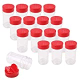 Bekith 16 Pack Spice Jars for Storing Spice, Herbs and Powders - 6 Oz BPA free Plastic Spice Containers with Red Flip Top Cap to Pour or Shaker/Sifter