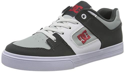 DC Shoes Pure Elastic, Zapatillas Niños, Grey/Grey/Red, 39 EU