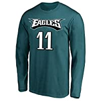NFL Youth Team Color Mainliner Player Name and Number Long Sleeve Jersey T-Shirt (Medium 10/12, Carson Wentz Philadelphia Eagles Green)