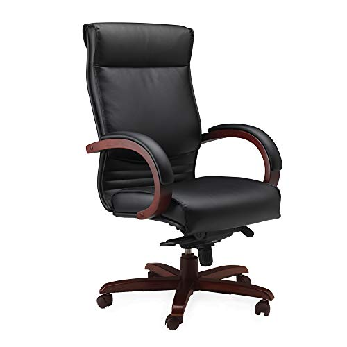 Mayline Napoli High Back Leather Task Chair with Arms, Sierra Cherry Veneer, Black Leather