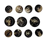 Set of 11 Premium Genuine Blonde and Black Ox Horn Blazer Buttons with Polished Round Rim ...