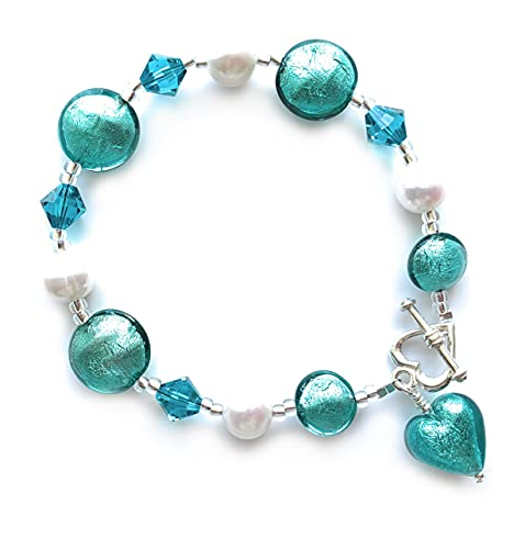 Diana Ingram bracelet with teal (green, jade) Murano glass mixed beads, crystals, white pearls and small heart charm on Sterling Silver clasp
